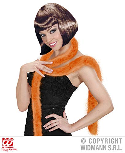 ORANGE MARABOU FEATHER BOA 2MTR Accessory for Flapper Molls Chorus Fancy Dress Party Widmann