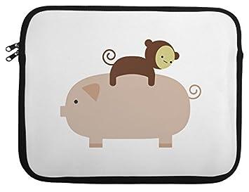 Caja del ordenador portátil luvponies cerda Mono bebé 33,02 cm 35,56 cm 38,1 cm 13: Amazon.es: Informática