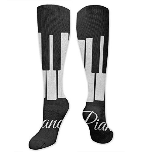 Compression Socks Black Piano Keyboard Music Note Cool Womens Stocking Accessory Sock Clearance for -
