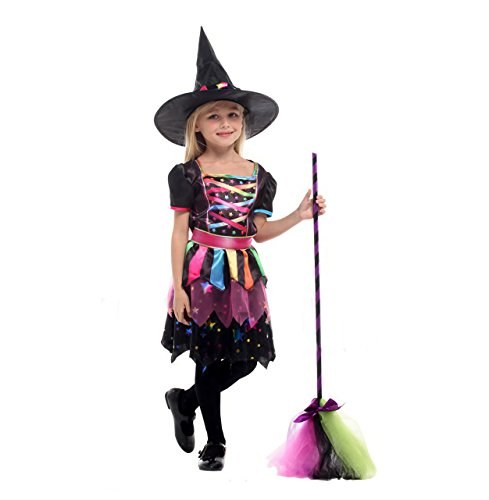 [GRACES]Girls Toddler Cute Witch Costume Dress Party Halloween (M, Black) - Cute Halloween Party Costumes