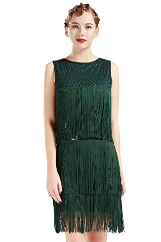 BABEYOND 1920s Flapper Dress Long Fringe Gatsby Dress Roaring 20s Sequins Beaded Dress Vintage Art Deco Dress (Dark Green, Medium) -