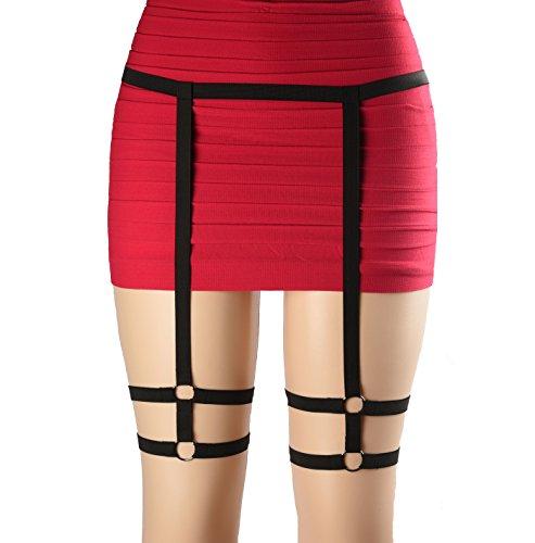 Para Rosa Garter Belts Lingerie Black Body Harness Elastic Gothic Studded Strappy Sexy Leg for Women, (Sexy Leg Garter)
