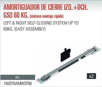ADINOR SISTEMA MONTAJE RAPIDO AMORTIGUADOR (GSO/GSU) CIERRE PUERTAS CORREDERAS 60Kg DCH + IZQ (2 un.): Amazon.es: Bricolaje y herramientas