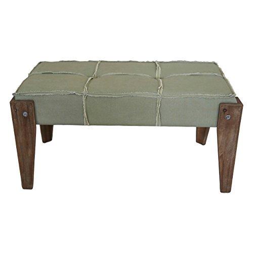 International Caravan 47B-12A12-SG-IC Furniture Piece Tuffed Sage Fabric Bench with Rustic Fringe