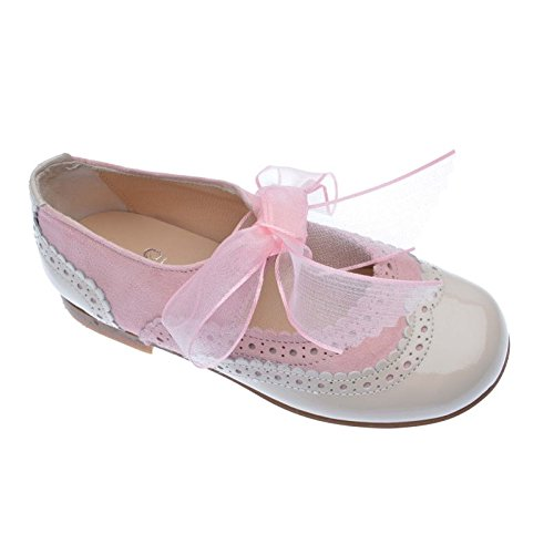 Merceditas Niña Charol en piel de 1ª Calidad, Calzado infantil Made in Spain, garantia de calidad. (22, Rosa)