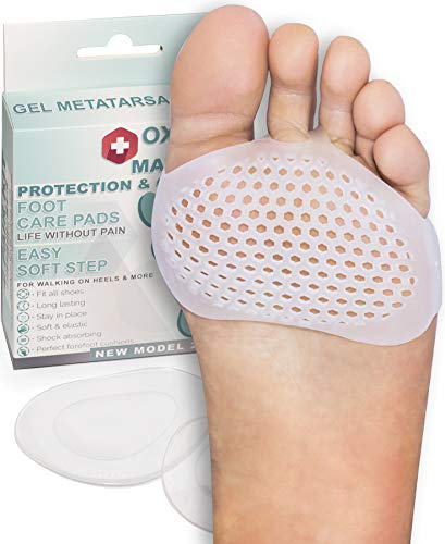 Premium Metatarsal Pads for Men & Women by Oxygen Swiss Lab   Soft Silicone Gel Ball of Foot Pads for Athletes, Morton's Neuroma, High Heels, Bunions, Running & More   Soothe Feet Pain Instantly