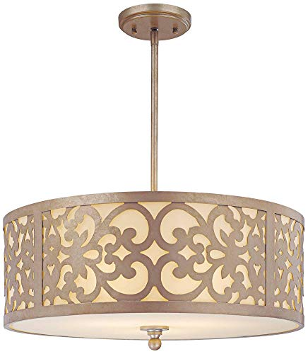 Minka Lavery Pendant Ceiling Lighting 1494-252, Nanti Drum, 3 Light Fixture, 300 Watts, Silver