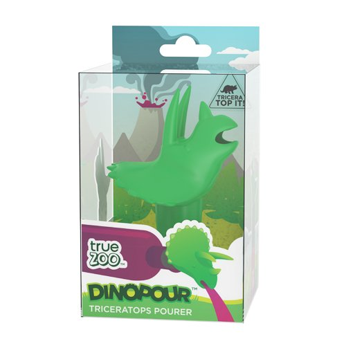 Dinopour Triceratops Pourer and Wine Preserver in Green by TrueZoo