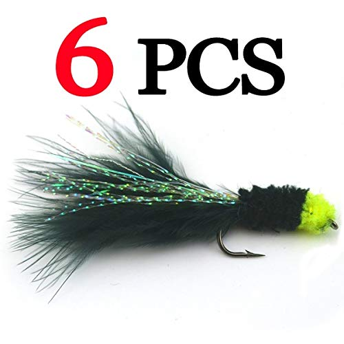 Jammas 6PCS 6# Black Egg Sucking Leech Fly Yellow head Marabou with Flashabou Trout Fishing Streamer - (Color: 6pcs)