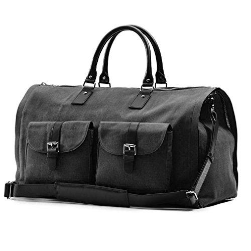 Hook and Albert Men's Waxed Canvas Garment Weekender Bag, Black