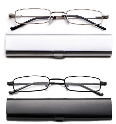 - 2 Pack Reading Glasses in Aluminum Case Front Open Rectangle Metal Reading Glasses Compact on the Go Slim Reading Glasses Super Lightweight Reading Glasses 3.00