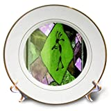 3dRose Jos Fauxtographee- Kayenta Decoration - A Design on a Window in Green and Purple with a Kayenta Look - 8 inch Porcelain Plate (cp_291082_1)