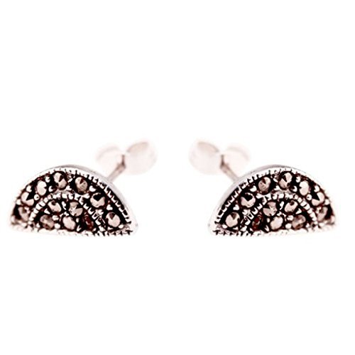 apop nyc Sterling Silver Art Deco Style Marcasite Stud Earrings [Jewelry] by apop nyc