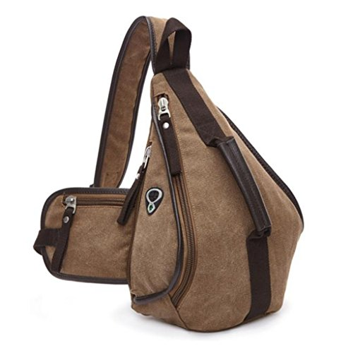 Men Chest Backpack Sling Bag For Canvas Shoulder Cool Coffee Outdoor Sports Unbalance Kingwo Casual Crossbody OAqdFwPgqn