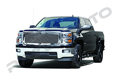 Grille Putco 1500 Billet (Razer Auto Chrome Mesh Grille Complete Factory Replacement Grille Shell for 2014-2015 Chevy Silverado 1500)