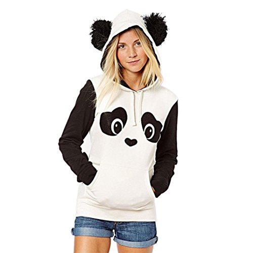 Panda Hoodie (Black and White Long Sleeve Cute Panda Print Hoodie Sweatshirt with Ear and Pocket Pullover Top)