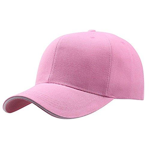 Unisex Baseball Hat,Crytech Fashion Classic Polo Cotton Plain Adjustable Snapback Ballcap Hat Outdoor Low Profile Dad Cap Hip Hop Bboy Sun Visor Cap for Women Men Cycling Hiking Golf (Pink)