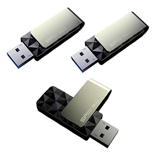 Silicon Power 64GB-Blaze B30 USB 3.0 Flash Drive, 3 Pack