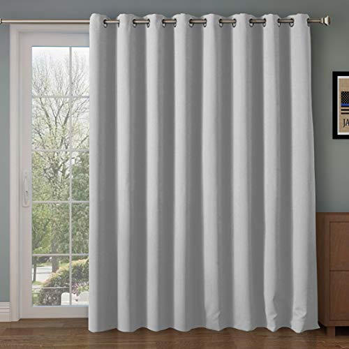 Wide Blackout Patio door Curtain Panel&Sliding door insulated curtains,Thermal&Extra Wide curtains,for curtain rod silver,Silver Grommet Top Blackout Curtains:100W by 84L Inches-Greyish White (Single Door Patio To)
