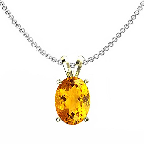 Dazzlingrock Collection 14K 9x7 mm Oval Cut Citrine Ladies Solitaire Pendant (Silver Chain Included), Yellow Gold