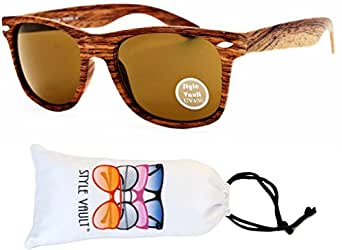 W1000-vp Style Vault Wayfarer 80s Sunglasses (B2044F #3 Oak Brown-Brown, mirrored)