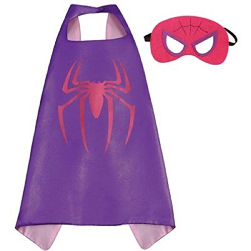 Superhero Cape and Mask Costume Set Boys Girls Birthday Halloween Play Dress up (Spider Girl)