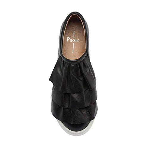 Linea Paolo Lolo Damessneakers - Instapplatform Sneaker Met Ruches Zwart Leer