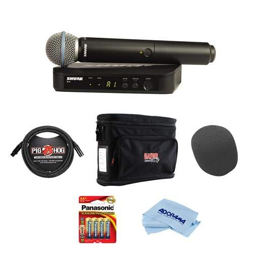 (Shure BLX24/PG58 Handheld Wireless System, Includes BLX4 Single-Channel Receiver, BLX2 Transmitter with PG58 Mic, BLX4 Single-Channel Wireless Receiver - Bundle with Gator Wireless System Bag and More)