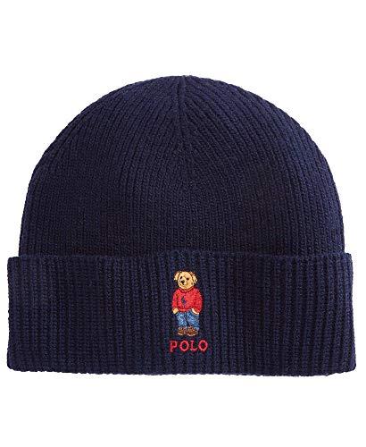 Polo Ralph Lauren Unisex Bear Design Wool Winter Skulllie Cap Beanie Hat One Size (Hunter Navy/Red Sweater)