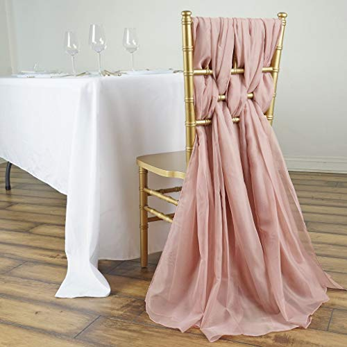 Efavormart 5 Pack 6 Ft DUSTY ROSE DIY Premium Chiffon Designer Chair Sashes for Wedding Banquet Decor Chair Bow Sash Party