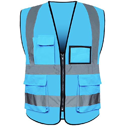 Reflective Safety Vest ANSI Class 2 High Visibility with 5 Pockets and Zipper XL 2XL Sky-blue