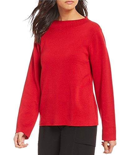 (Eileen Fisher Lacquer Silk/Organic Cotton Funnel Neck Top Sweater S/P MSRP $298)
