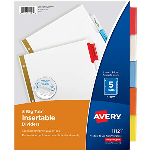 Avery 5-Tab Binder Dividers, Insertable Multicolor Big Tabs, 1 Set (11121) ()