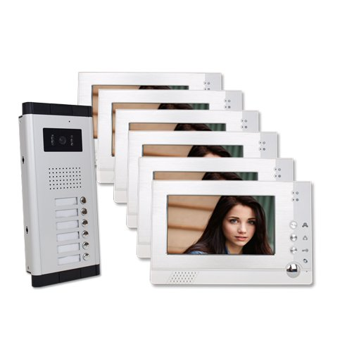 Six-Units-Apartment-Video-Intercom-with-Auto-Visitor-Photo-Memory-Doorbell-Security