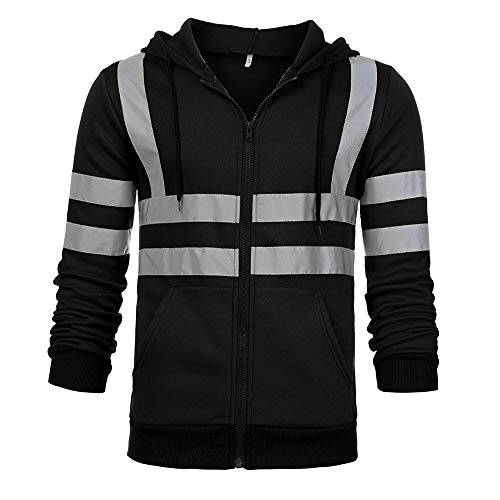 God's pens Mens Coat Man Road Work Clothes High Visibility Hooded Pullover Color Block Long Sleeve Jacket with Pocket Black (Moral Of The Boy In The Striped Pajamas)