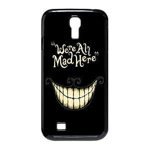Alice in Wonderland We're all mad here Cheshire Cat Smile Face Unique Durable Hard Plastic Case Cover for SamSung Galaxy S4 I9500 Custom Design Fashion DIY (S4 9500, Multi-color)