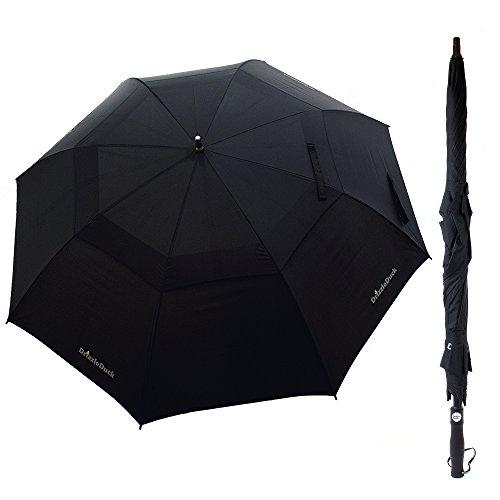 Regenschirm, XXL 125cm Durchmesser Automatik Golf Regenschirm [Windsicherer] Partnerschirm Stockschirm mit Trageschlaufe - DrizzleDuck