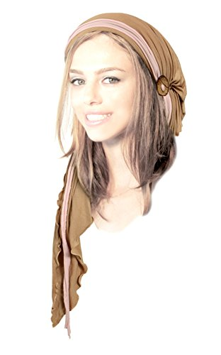Long khaki tan cotton pre-tied headscarf tichel turban pink head-wrap boho chic handmade coconut buttons! (Khaki beige pink - (Hats With Hair Attached)