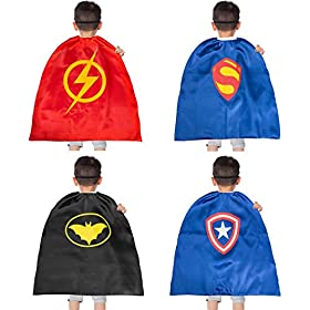 - 41n9fRZkC3L - YOHEER Dress Up Costume Set of Superhero Satin Capes with Felt Masks for Kids