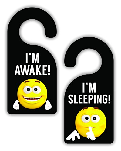 I'm Awake! / I'm Sleeping! - Cute Yellow Emoticon Expressions - Bedroom Door Sign Hanger - Double-Sided - Hard Plastic - Glossy Finish