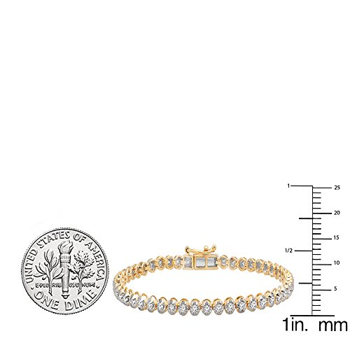 1.00 Carat (ctw) 10K Gold Round Cut White Diamond Ladies Tennis Bracelet 1 CT