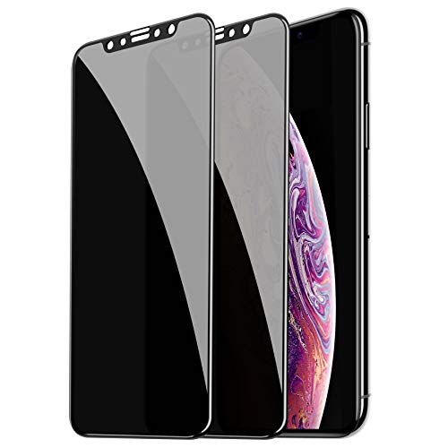 [2 Pack] Privacy Screen Protector for iPhone Xs/iPhone X, CTREEY Anti-Spy, Full Coverage, Anti-Scratch, Case-Friendly, Premium Tempered Glass Screen Protector for iPhone Xs/iPhone X 5.8 Inch (Black)