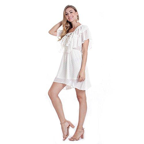chiffon stampato Dress Mei da Swing corta a amp;s White in donna manica XIaIqwOxA