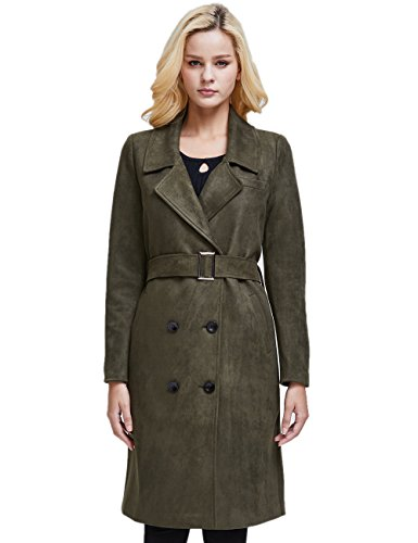 Double Suede Breasted Coat - Camii Mia Women's Belted Long Double Breasted Suede Coat (X-Small, Olive Green)