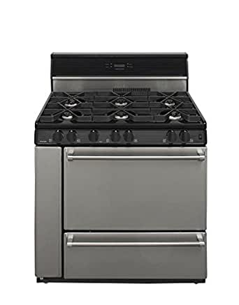 """P36S348BP Pro Series 36"""" Freestanding Gas Range with 3.9 cu. ft. Manual Clean Oven 6 Burners Electronic Ignition Broiler Drawer Storage Compartment Griddle Included & In Stainless"""