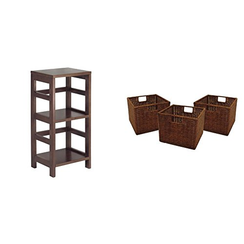 Winsome Wood Shelf, Espresso + Winsome Wood Small Wired Rattan Baskets, Set of 3_Bundle price