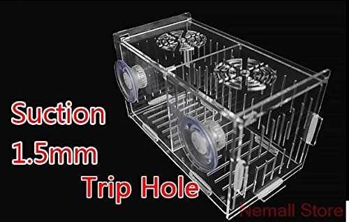 Aquarium Detachable Acrylic Small Fish Isolation Box Breeding Box For Fish Baby   1.5mm trip suction, 10x10x10cm 1 room