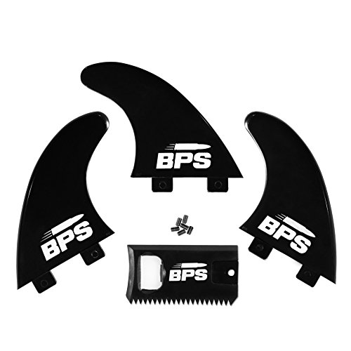 BPS Fiberglass Reinsoforced 3pc Surf Fins - Glass Flex Thruster Set FCS G5 M5 Styled - Surfboard Fins with Screw Hardware and Wax Comb (Charocoal Black)