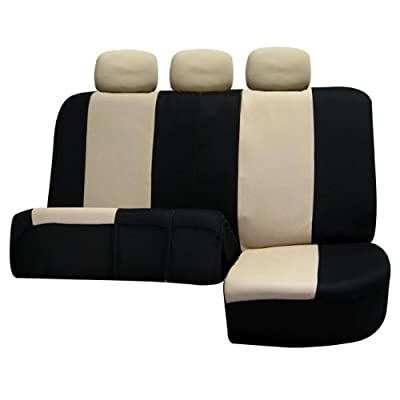 FH Group FB051BEIGE013 Beige Universal Split Bench Seat Cover (Allow Right and Left 40/60 Split, 50/50 Split Fit Most of Vehicle): Automotive
