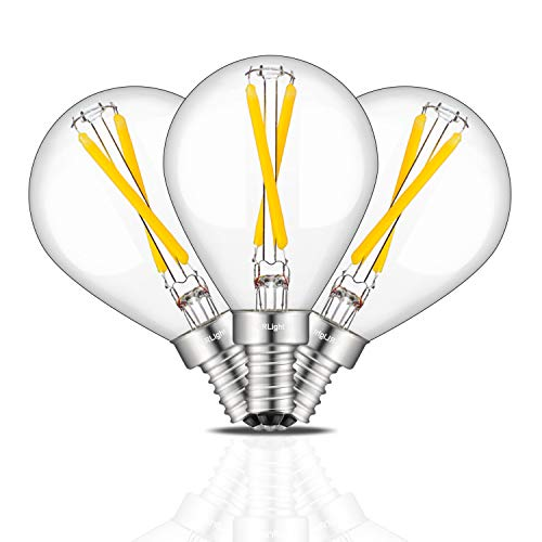 CRLight 2W 3500K Dimmable LED Candelabra Bulb Neutral White 250LM, 25W Incandescent Equivalent, E12 Base LED Filament Globe Bulbs, Vintage G14(G45) Clear Glass, 3 Pack